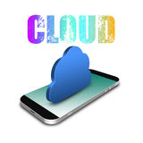 Cloud  Computing  Connection  with smartphone,cell phone illustrati Royalty Free Stock Photography