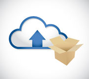 Cloud computing content upload concept. Illustration design over white Stock Photos