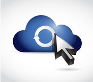Cloud computing and cycle cursor illustration Royalty Free Stock Image