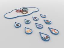 Cloud Computing 3D concept background with rain drops and symbols Royalty Free Stock Photography