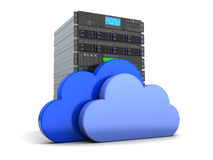 Cloud computing. 3d illustration of server computer and cloud symbol, over white Stock Photography