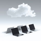 Cloud computing 3d sign on laptop computer Stock Photography