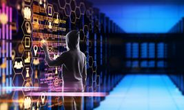 Cloud computing and data concept. Hacker using creative dark digital interface in blurry server room. Cloud computing and data concept. Multiexposure royalty free stock photography