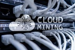 Cloud computing, data or cryptocurrency (Bitcoin, Ethereum) mining in data center. Server room background.  stock photos