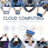 Cloud Computing Data Digital Storage Graphic Concept. People Discussing Cloud Computing Data Digital Storage Stock Photos