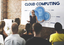 Cloud Computing Data Networking Connection Technology Concept. People Listening Cloud Computing Data Networking Connection Technology Discussion Royalty Free Stock Photography