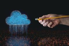 Cloud computing data rain RJ45 cable Royalty Free Stock Photography