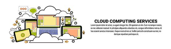 Cloud Computing Data Storage Concept Horizontal Banner With Copy Space. Vector Illustration Stock Photos