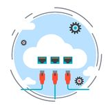 Cloud computing, data storage, remote control concept. Cloud computing, data storage, remote control flat design style vector concept illustration Royalty Free Stock Image