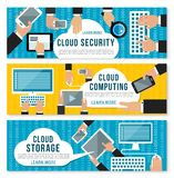 Cloud computing, data storage and security banner. Set with digital devices. Users connecting to cloud storage and sharing file and document via computer Royalty Free Stock Photos