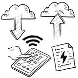 Cloud computing and data transfer sketch. Doodle style cloud computing illustration showing data being uploaded into the cloud and downloaded to smartphones and Stock Photos