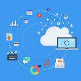 Cloud computing, data transfer and synchronization. Vector illustration concept for cloud computing, data transfer, data storage and synchronization Stock Images