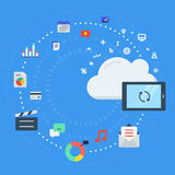 Cloud computing, data transfer and synchronization. Vector illustration concept for cloud computing, data transfer, data storage and synchronization Stock Photos