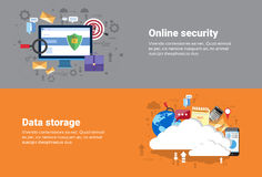 Cloud Computing Database Storage Services, Online Security Data Protection Web Technology Banner. Flat Vector Illustration Royalty Free Stock Photography