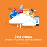 Cloud Computing Database Storage Services Web Technology Banner. Flat Vector Illustration Royalty Free Stock Image