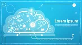 Cloud Computing Database Storage Services Web Technology Banner. Flat Vector Illustration Stock Images