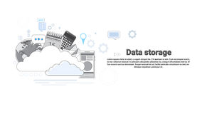 Cloud Computing Database Storage Services Web Technology Banner. Vector Illustration Royalty Free Stock Photos