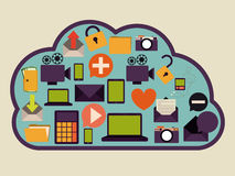 Cloud computing. Design over purple background, vector illustration Royalty Free Stock Photos