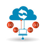 Cloud computing design. Trip icon. Flat illustration, technology vector Royalty Free Stock Images
