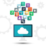 Cloud computing. Desktop computer and apps icons on white background. Royalty Free Stock Image