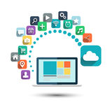 Cloud computing. Desktop computer with web icons vector illustration. Cloud computing. Desktop computer with color web icons vector illustration Stock Photography