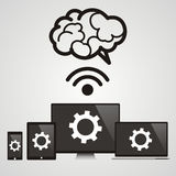 Cloud computing - Devices connected to the brain.  Royalty Free Stock Photo