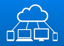 Cloud computing devices connected to internet cloud vector icon. Different devices connected with internet cloud computing network vector icon stock illustration