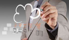 A Cloud Computing diagram on the new computer interface Stock Image