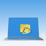 Cloud Computing diagram on sticky note with laptop Stock Photography