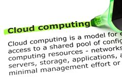 Cloud Computing Dictionary Definition Green Marker Royalty Free Stock Photography