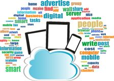 Cloud computing on digital tablet pc. smart phone Royalty Free Stock Photo