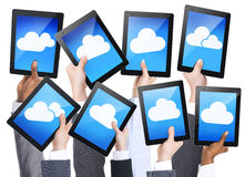 Cloud Computing. With digital tablets royalty free stock images