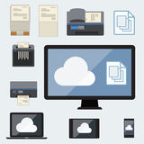 Cloud Computing with document storage. Vector design Royalty Free Stock Image