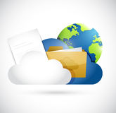 Cloud computing documents and globe network. Illustration design over a white background Royalty Free Stock Photo