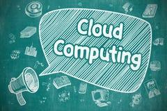 Cloud Computing - Doodle Illustration on Blue Chalkboard. Royalty Free Stock Photos