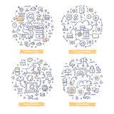 Cloud Computing Doodle Illustrations. Doodle  concepts of hosting technologies, cloud computing and online data storing Stock Image