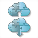 Cloud computing download and upload puzzle icon Royalty Free Stock Image