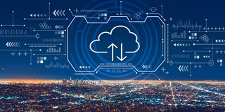 Cloud computing with downtown Los Angeles. At night stock illustration