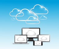 Cloud computing and electronics. Royalty Free Stock Image