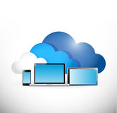 Cloud computing and electronics. illustration Stock Photography