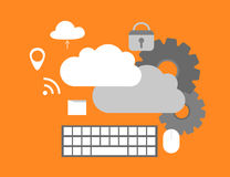Cloud Computing Elements Concept. Devices connected to the cloud with Gears. Royalty Free Stock Image