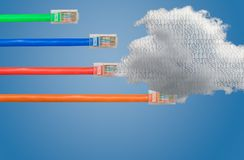 Cloud computing and ethernet cables in Net Neutrality image. Ethernet cables emerge with different lengths and fail to reach cloud computing to illustrate Net Stock Photo