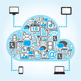 Cloud computing with file icon in blue background. Icon in cloud shape in cloud computing concept Stock Photos