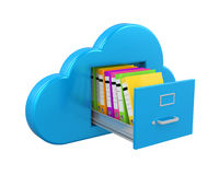 Cloud Computing File Storage. Isolated on white background. 3D render Royalty Free Stock Photography