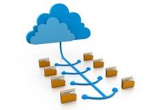 Cloud computing files. 3d illustration of cloud computing files Stock Photos