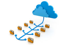 Cloud computing files. 3d illustration of cloud computing files Royalty Free Stock Photo