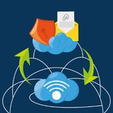 Cloud computing, files and messages concept. Vector illustration Stock Photos