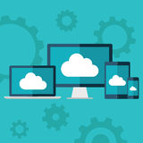 Cloud computing. Flat design illustration of laptop, desktop computer, tablet and smart phone with cloud icon. Stock Photo