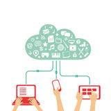 Cloud computing - flat design illustration Stock Images