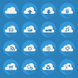 Cloud Computing Flat Icon Set Stock Photography